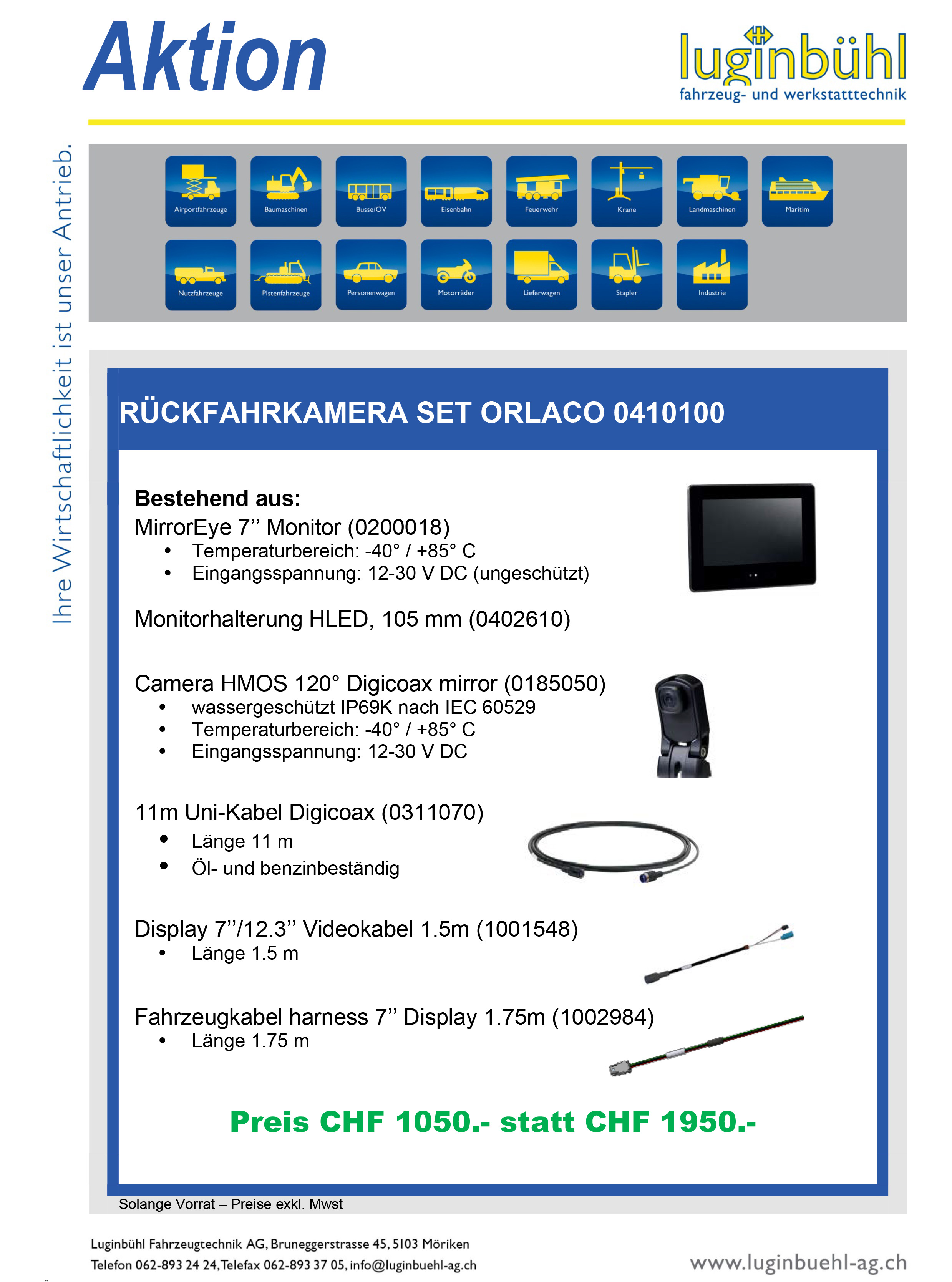 Rückfahrkamera Orlaco - Digitales Kamera-Monitor-System mit HMOS Kamera und 7-Zoll Monitor. Für die HMOS-Kamera und den HLED-Monitor wird die GMSL-Technologie verwendet. Die Abkürzung GMSL steht für Gigabit Multimedia Serial Link und bezeichnet eine Technologie, bei der das Videosignal digital und unkomprimiert über ein Koaxialkabel übertragen wird. Dank der Gigabit-Verbindung und der hohen Bandbreite ist mit GMSL die Übertragung digitaler HD-Videodaten für Fahrzeuge möglich. Da das Videosignal unkomprimiert verschickt wird, sind Verzögerungen ausgeschlossen. Das Bild wird in Echtzeit und verzögerungsfrei auf dem Monitor angezeigt. Und dank der digitalen Qualität wird die Situation rund um das Fahrzeug haarscharf abgebildet.